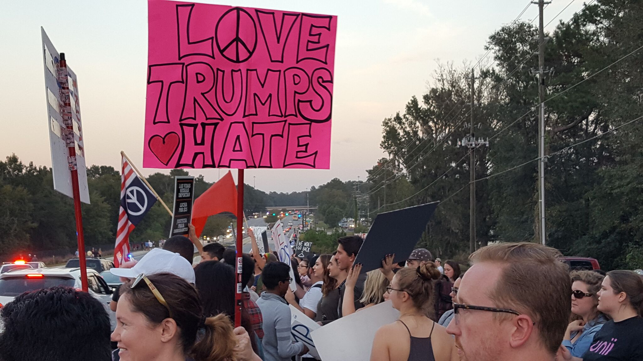 A few hundred protesters picket at the Tallahassee Trump Rally.